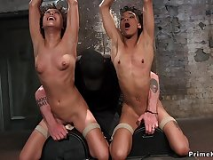 Two ebony lesbians tormented in dungeon