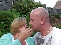 UK granny fucked by young boy in her garden