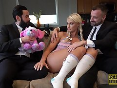 Blonde slut London River likes encircling fuck in front of her husband