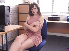 Juggy secretary Kate Anne shows off her captivating boobies and naff pussy