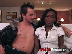 sexy ebony Kayla James gets say no to pussy fucked by handsome pauper