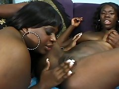 Horny ebony BBW with big ol hypnotic titties loves her lesbian friend