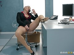 After she masturbates with a dildo Ryan Keely is available for boss's penis